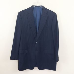 Ermenegildo Zegna 46L Blue Striped 15 Mil Jacket